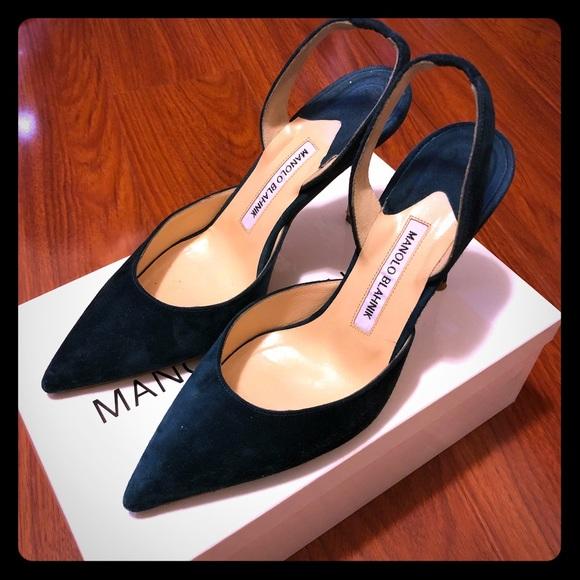 280c86acaf Manolo Blahnik Shoes - Manolo Blahnik Carolyne Suede Slingback Pump - 38